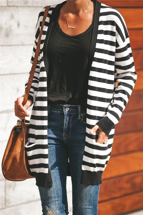 Fashion Striped Long-Sleeved Cardigan Sweater Black s