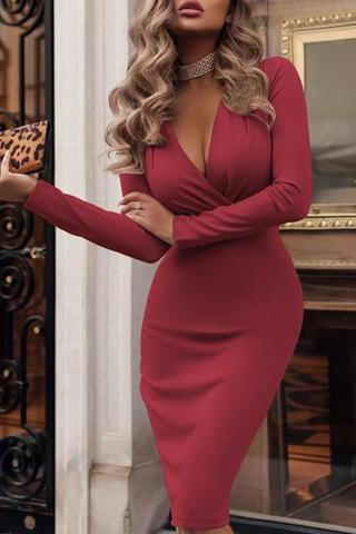 V-Neck  Ruched  Plain Bodycon Dress Claret s