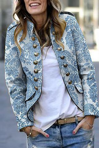 Fashion Print Long Sleeve Suit Cardigan Light Blue s