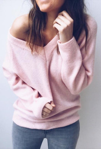 Image of Sexy V-Neck Long-Sleeved Knitted Sweater Blue s