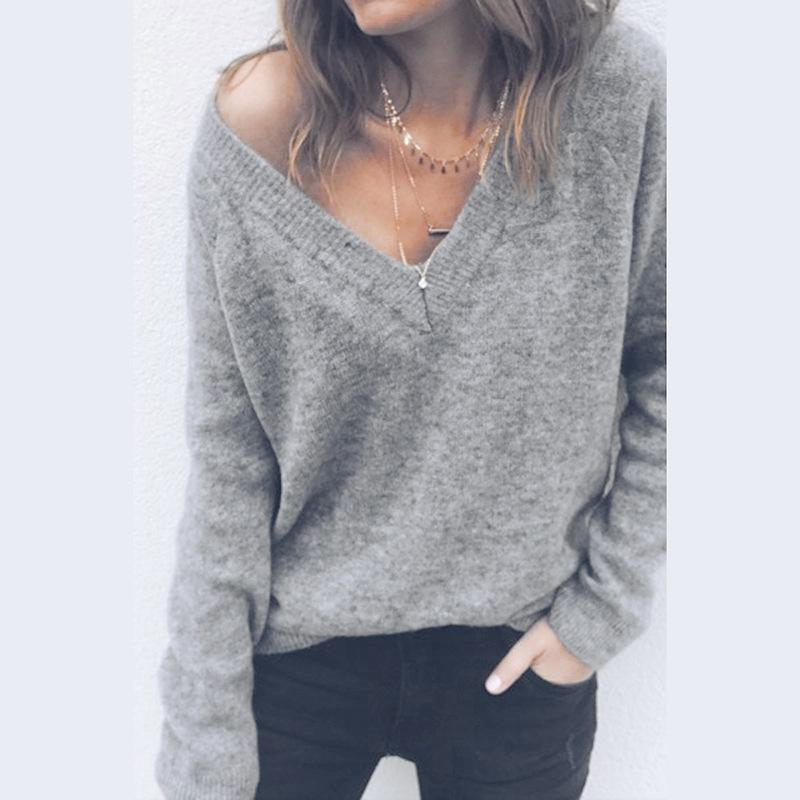 Sexy V-Neck Long-Sleeved Knitted Sweater Blue l