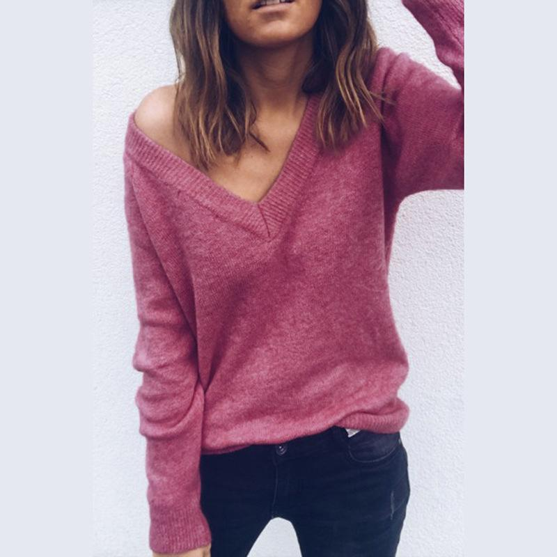 Sexy V-Neck Long-Sleeved Knitted Sweater Claret m