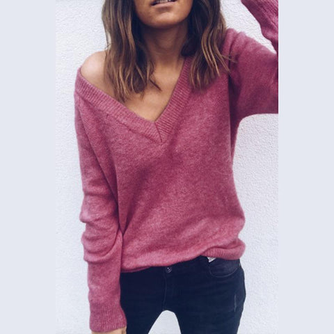 Image of Sexy V-Neck Long-Sleeved Knitted Sweater Claret m