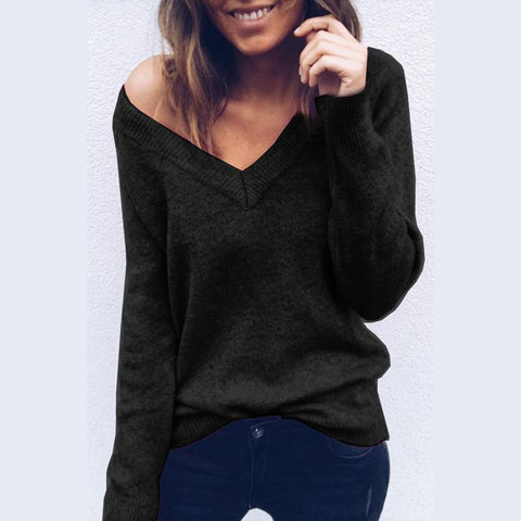 Image of Sexy V-Neck Long-Sleeved Knitted Sweater Blue m