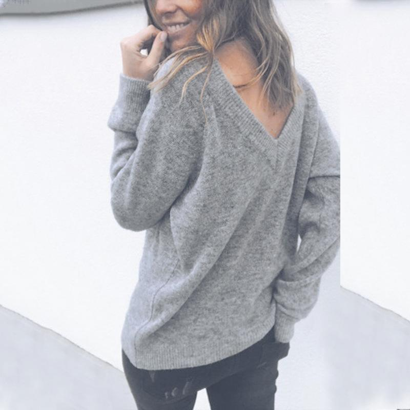 Sexy V-Neck Long-Sleeved Knitted Sweater Blue xl