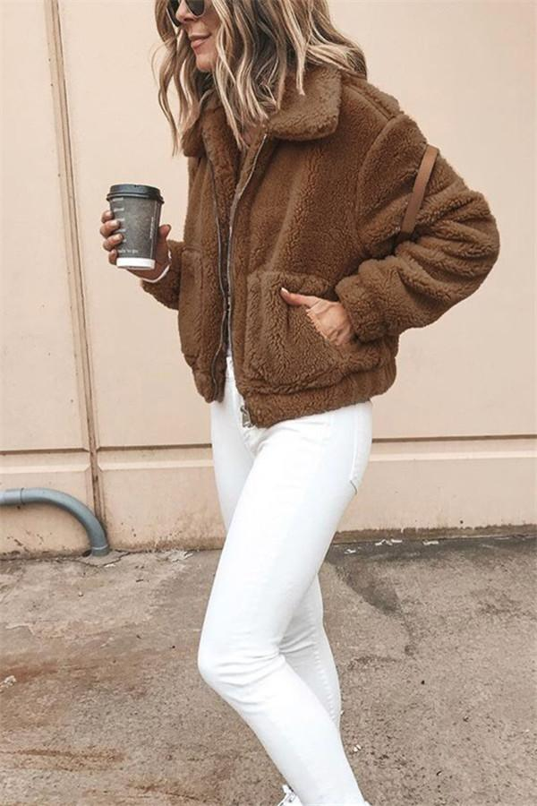 Autumn And Winter Fashion Long-Sleeved Zipper Plush Jacket Coffee s