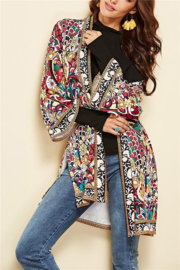 Fashion Printed Beach Cardigan Coat Red s