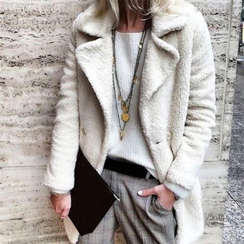 Image of Pure Color Velvety Lapel Warm Coat Style Coat White m