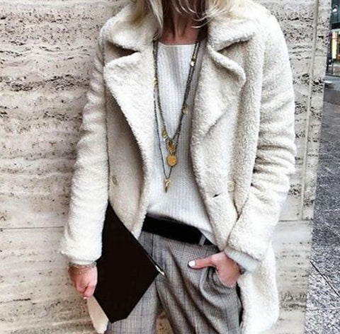 Image of Pure Color Velvety Lapel Warm Coat Style Coat White l