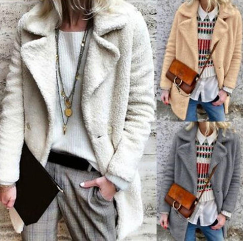 Image of Pure Color Velvety Lapel Warm Coat Style Coat Gray m