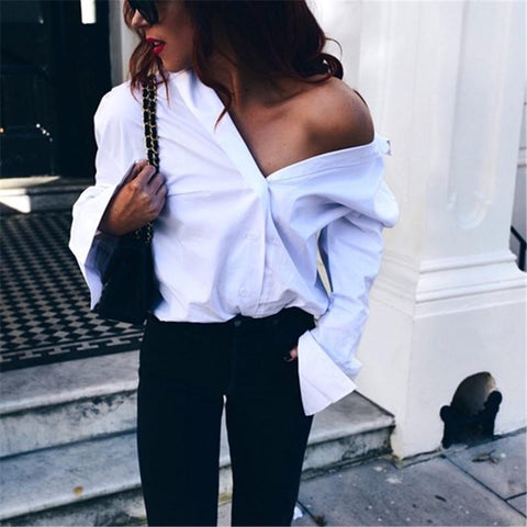 Image of Strap V Collar And Wear Plain Color Loose Long-Sleeved Shirt White m