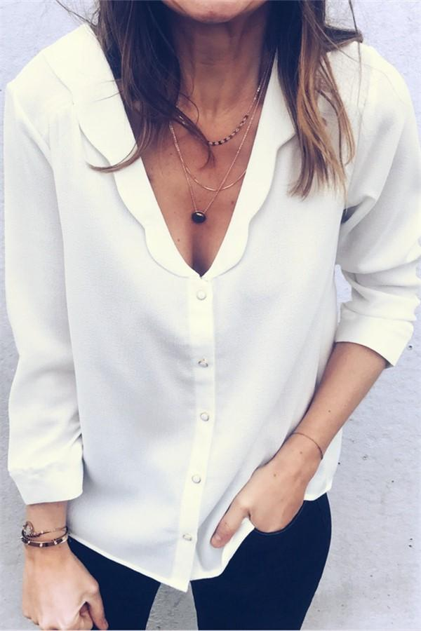 Pure Color Deep V Wave Collar Long Sleeve Shirt White m