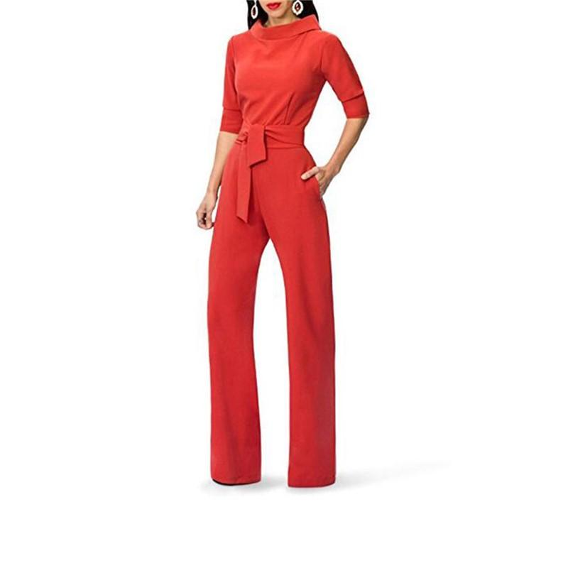 Pure Color Shirt Collars With Straight Tube Jumpsuits Red l