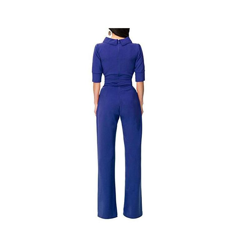 Pure Color Shirt Collars With Straight Tube Jumpsuits Black s