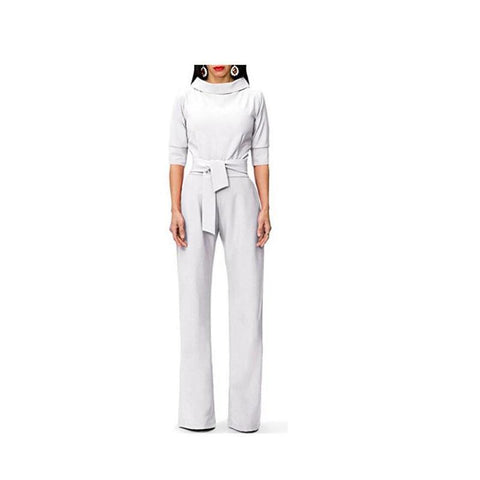 Image of Pure Color Shirt Collars With Straight Tube Jumpsuits White s