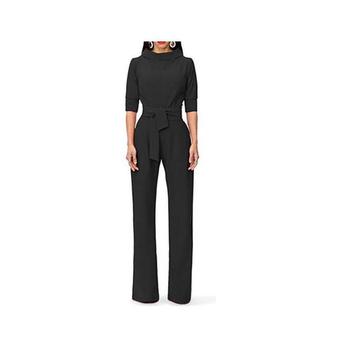 Image of Pure Color Shirt Collars With Straight Tube Jumpsuits Green m