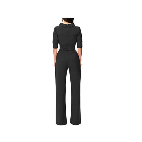 Image of Pure Color Shirt Collars With Straight Tube Jumpsuits Green l