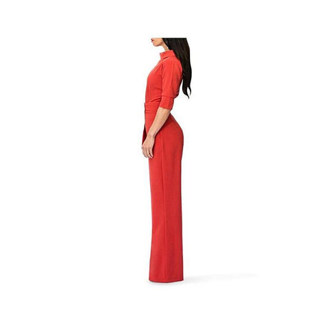Image of Pure Color Shirt Collars With Straight Tube Jumpsuits Red 2xl