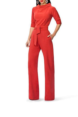 Image of Pure Color Shirt Collars With Straight Tube Jumpsuits Red s