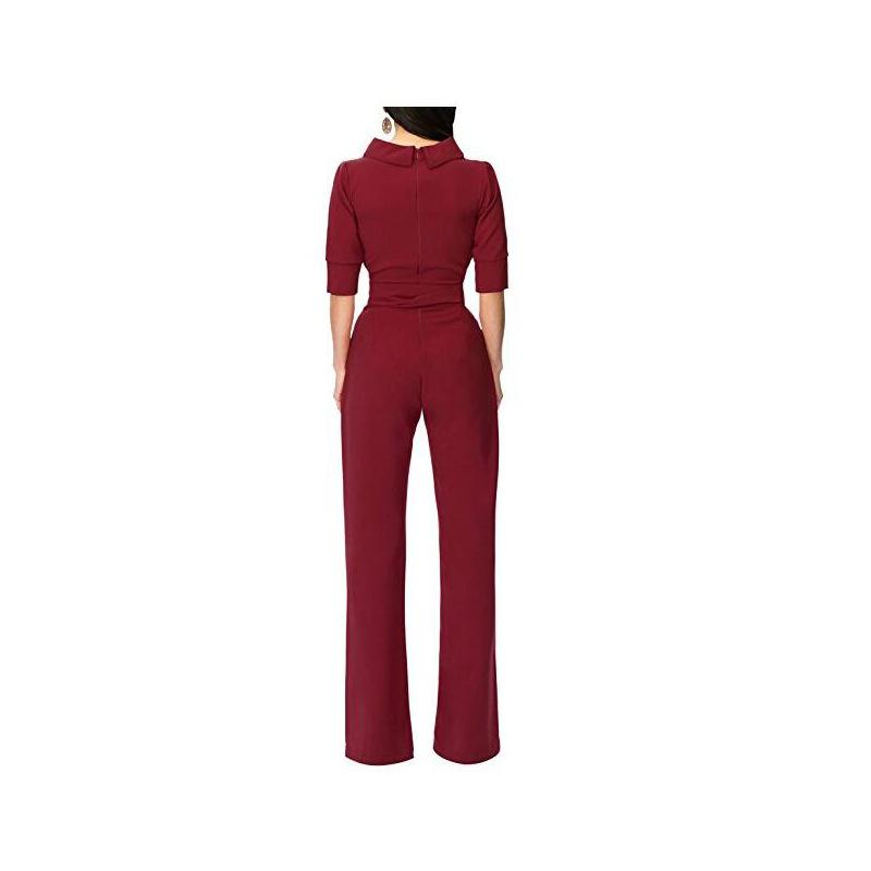 Pure Color Shirt Collars With Straight Tube Jumpsuits Black m