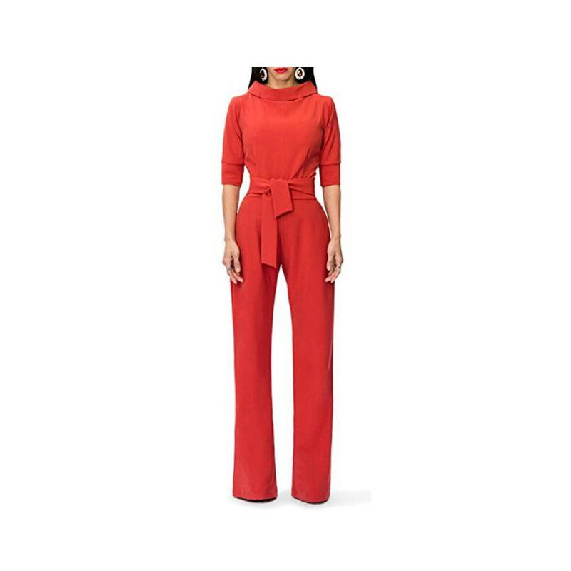 Pure Color Shirt Collars With Straight Tube Jumpsuits Red xl