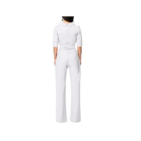 Image of Pure Color Shirt Collars With Straight Tube Jumpsuits White m
