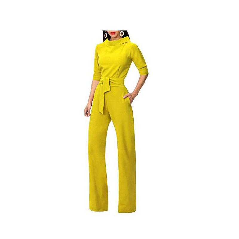 Pure Color Shirt Collars With Straight Tube Jumpsuits Yellow m