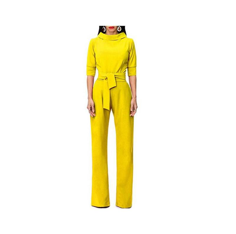 Pure Color Shirt Collars With Straight Tube Jumpsuits Yellow l