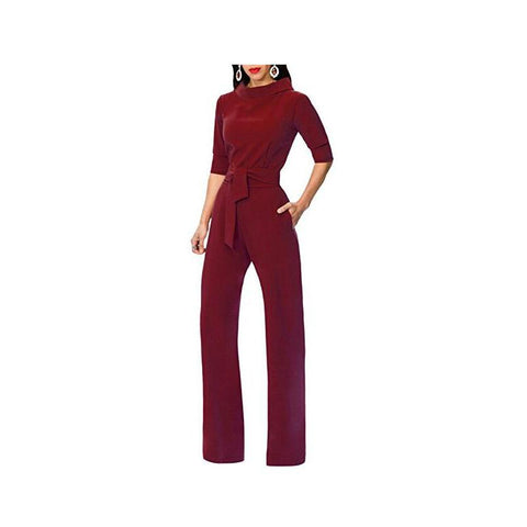 Image of Pure Color Shirt Collars With Straight Tube Jumpsuits Black l