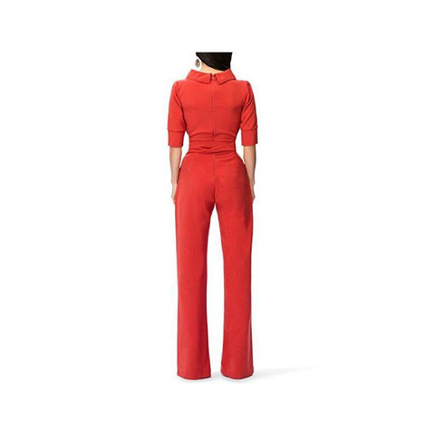 Image of Pure Color Shirt Collars With Straight Tube Jumpsuits Yellow s