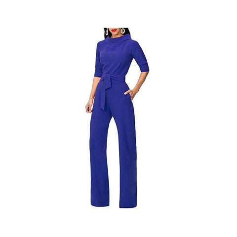 Image of Pure Color Shirt Collars With Straight Tube Jumpsuits Green xl