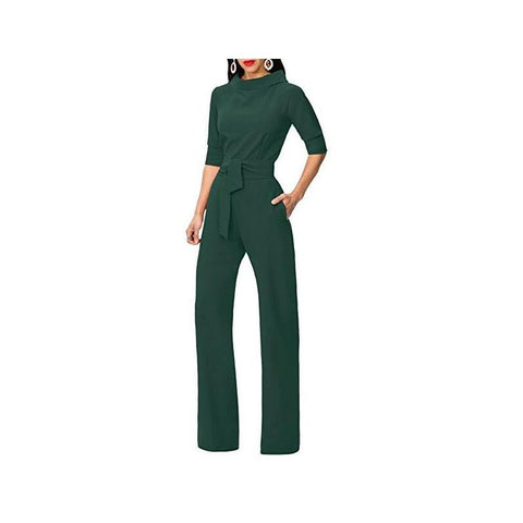 Image of Pure Color Shirt Collars With Straight Tube Jumpsuits White l