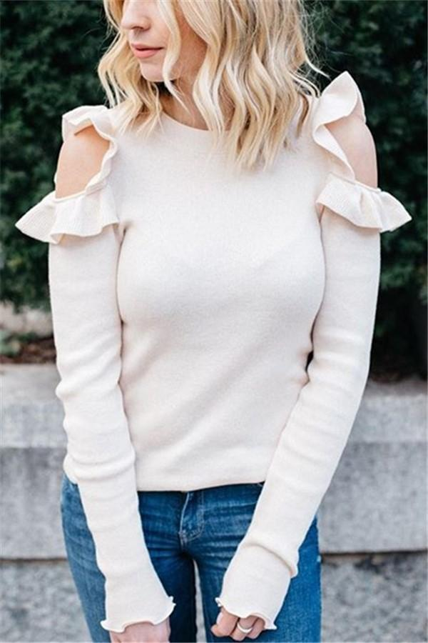 Sexy Off-The-Shoulder Long-Sleeved Blouse With Flounces White s
