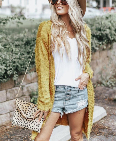 Image of Pure Color Long Shoulder Cardigan In Pine Needles Yellow s