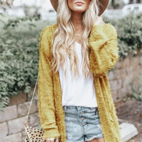 Image of Pure Color Long Shoulder Cardigan In Pine Needles Yellow l