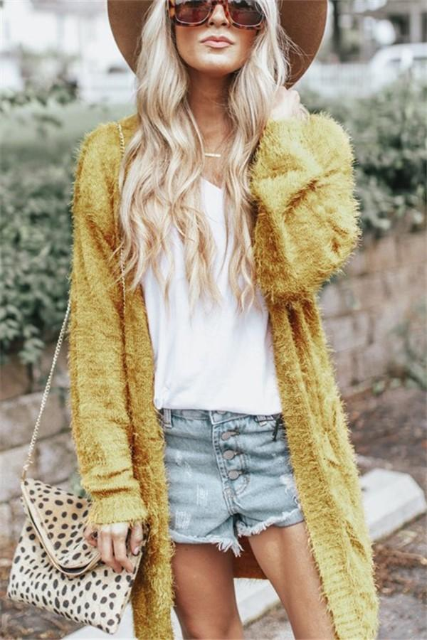 Pure Color Long Shoulder Cardigan In Pine Needles Yellow m