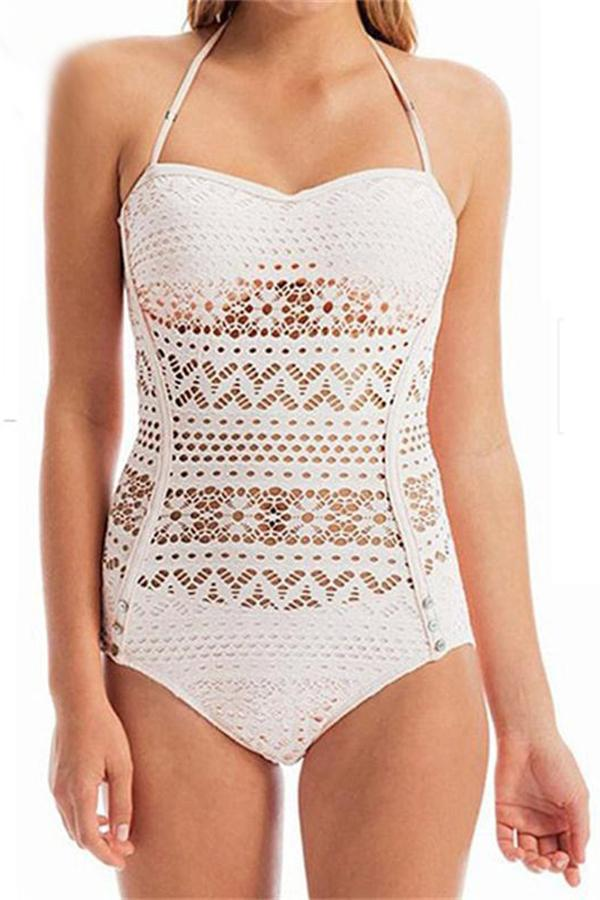 Sexy bikini knit one-piece swimsuit White s