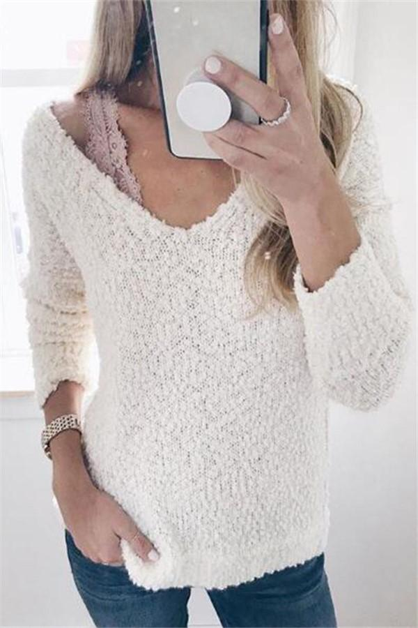 Fashion Round Neck Knit Pullover White s