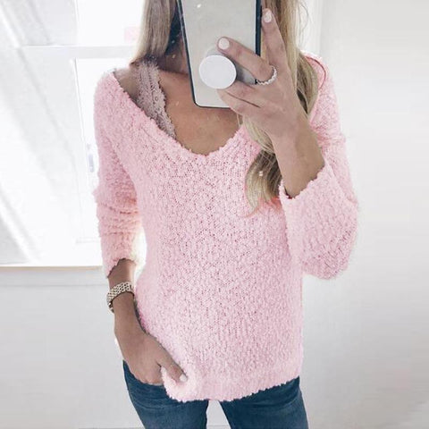 Image of Fashion Round Neck Knit Pullover White l