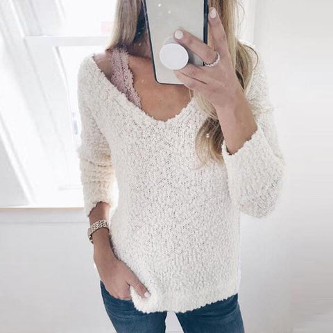 Image of Fashion Round Neck Knit Pullover White m