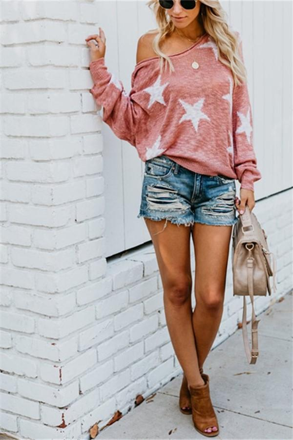 Five-Pointed Star   Loose Knitted Sweaters With Bare Shoulders Pink m