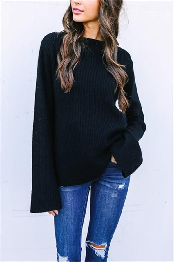 Pure Color Back V Slit   Strap Horn Sleeve Cardigan Sweater Black s