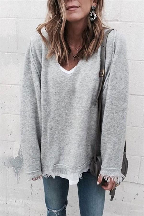 V-Neck Tasseled Loose-Knit Rabbit Bottom Sweater Gray s