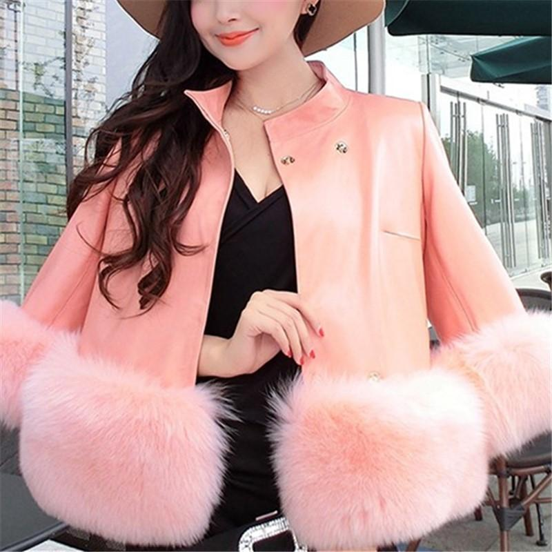 PU Leather Coat Is Similar To The Fur Fox Short Coat Gray s