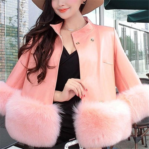 Image of PU Leather Coat Is Similar To The Fur Fox Short Coat Gray s