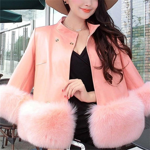 Image of PU Leather Coat Is Similar To The Fur Fox Short Coat Gray m