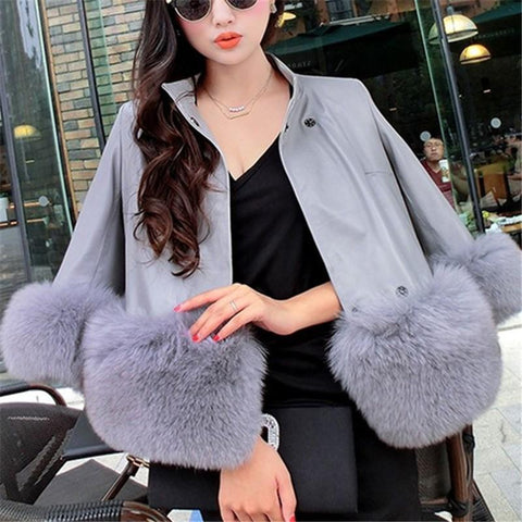 Image of PU Leather Coat Is Similar To The Fur Fox Short Coat Black xl