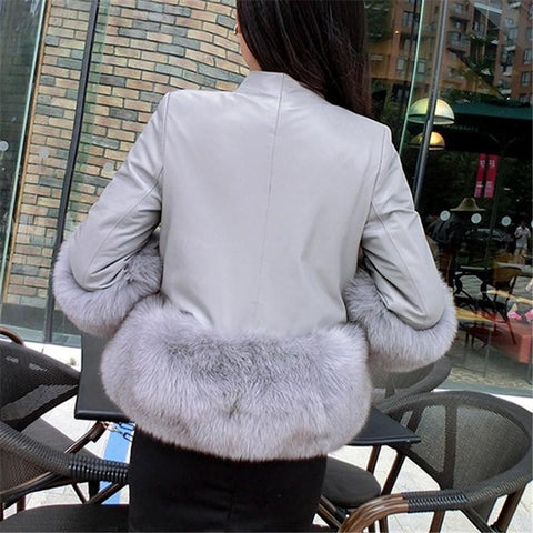 Image of PU Leather Coat Is Similar To The Fur Fox Short Coat Black 2xl