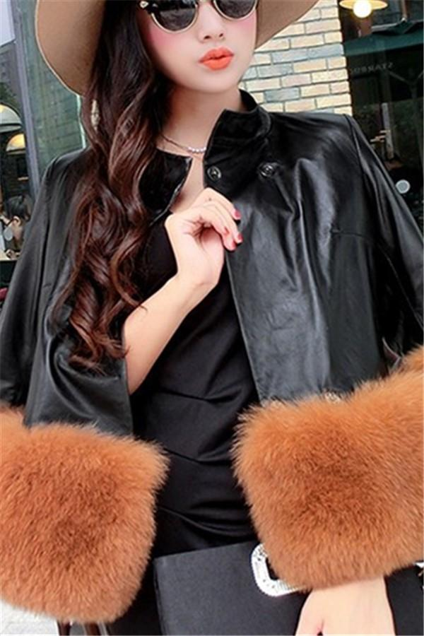 PU Leather Coat Is Similar To The Fur Fox Short Coat Black s