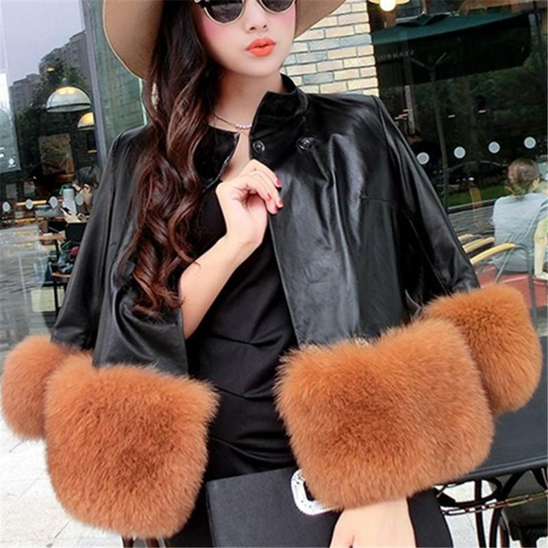 PU Leather Coat Is Similar To The Fur Fox Short Coat Black l